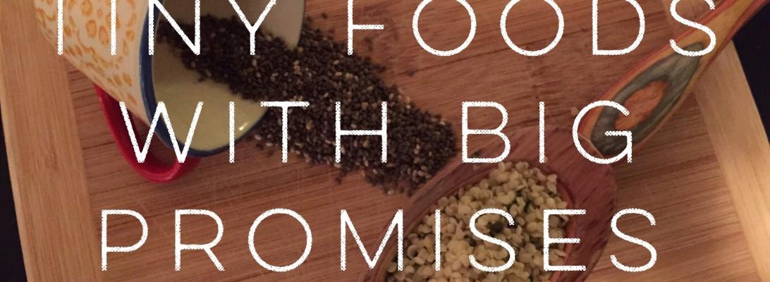 Chia seeds, hemp seeds, goji berries, pumpkin seeds, matcha
